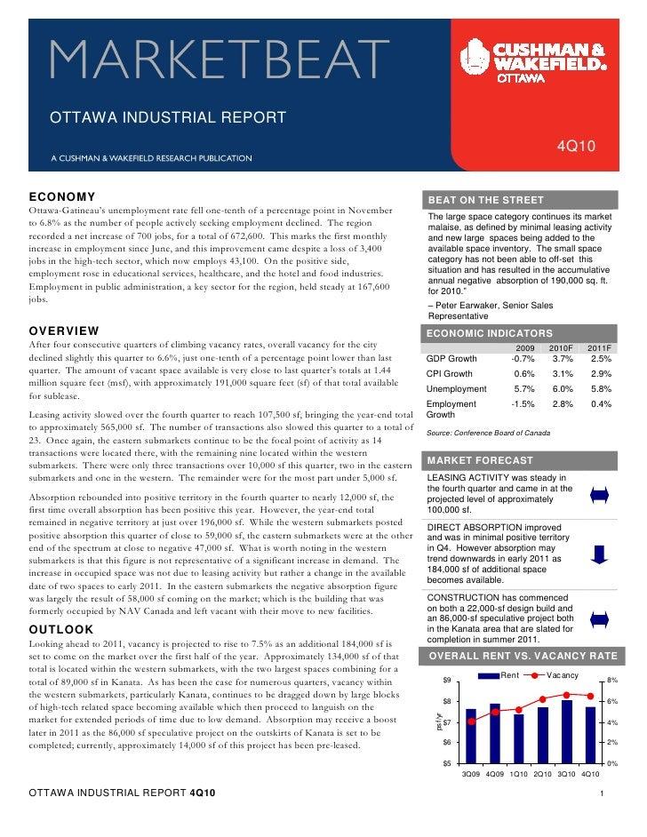 Q4 2010 Ottawa Industrial Marketbeat Report