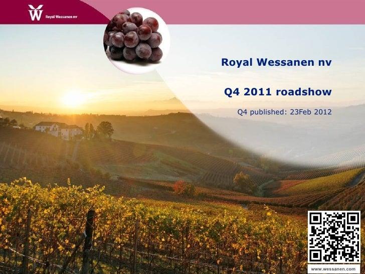 Wessanen Q4 11 roadshow presentation