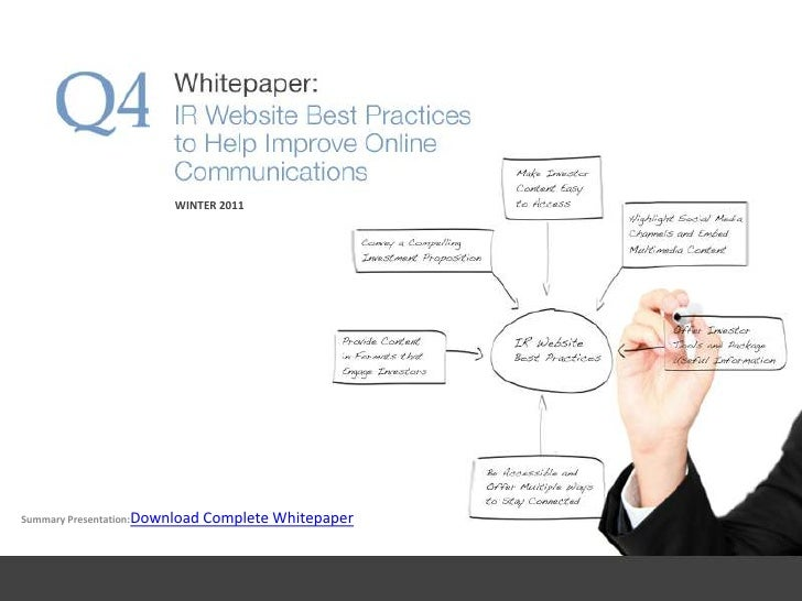 Q4 Whitepaper: IR Website Best Practices - Winter 2011