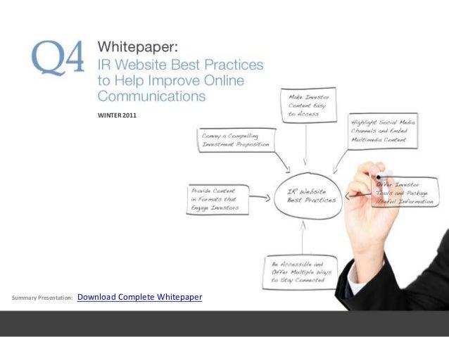 Summary Presentation: Download Complete Whitepaper WINTER 2011