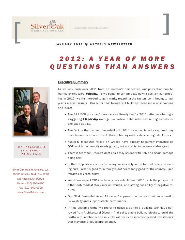 JANUARY 2012 QUARTERLY NEWSLETTER                                    2012: A YEAR OF MORE                                 ...