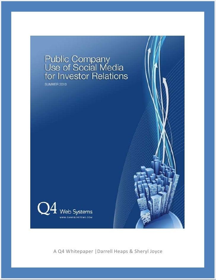 Q4 public company use of social media for investor relations   summer2010