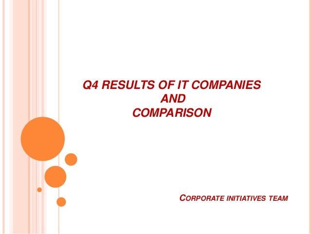 Q4 RESULTS OF IT COMPANIES AND COMPARISON CORPORATE INITIATIVES TEAM