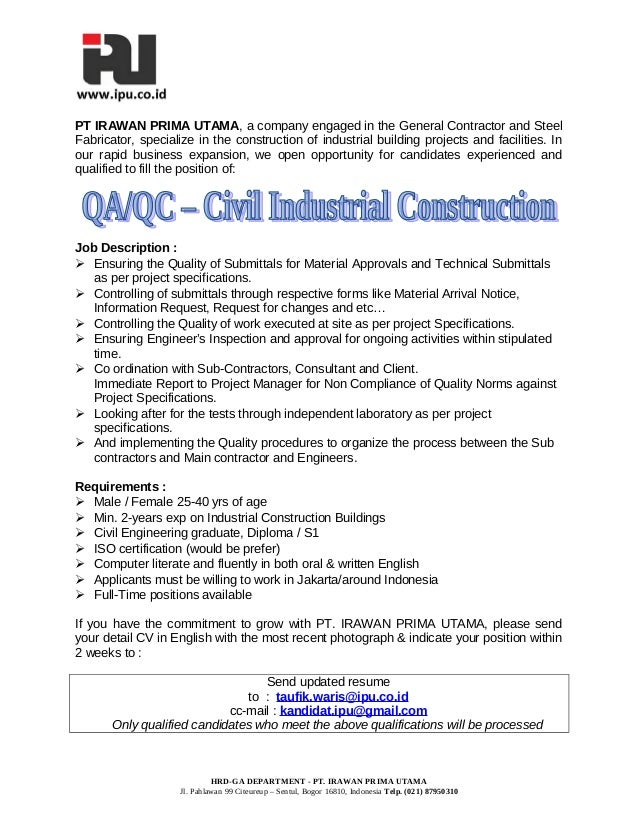 qc inspector cover letter