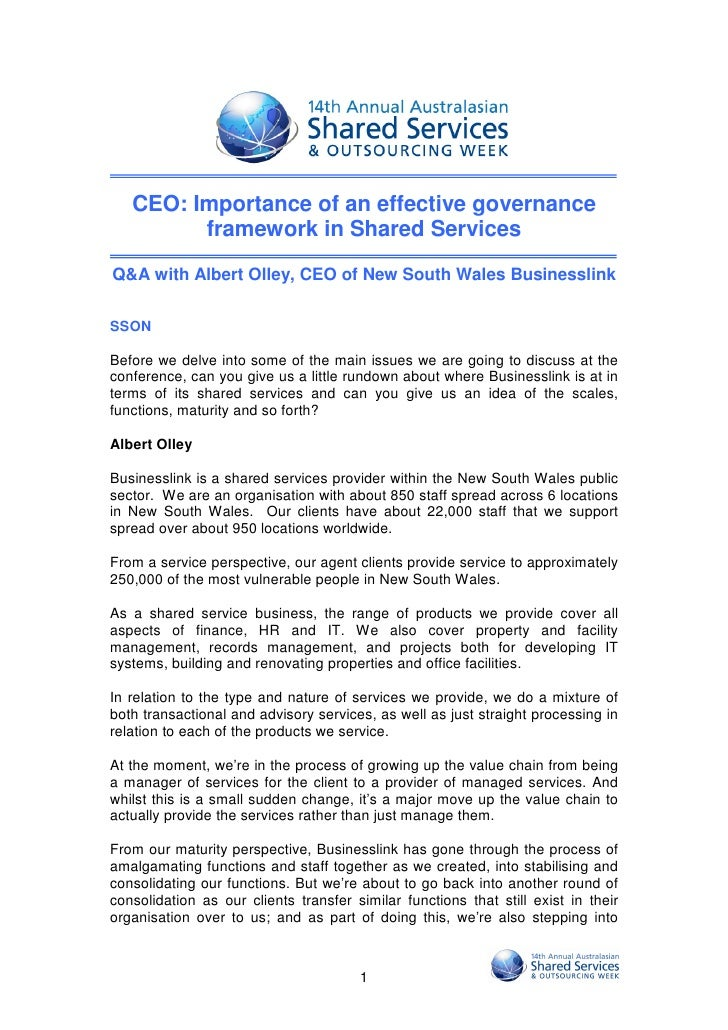 CEO: Importance of an effective governance         framework in Shared ServicesQ&A with Albert Olley, CEO of New South Wal...