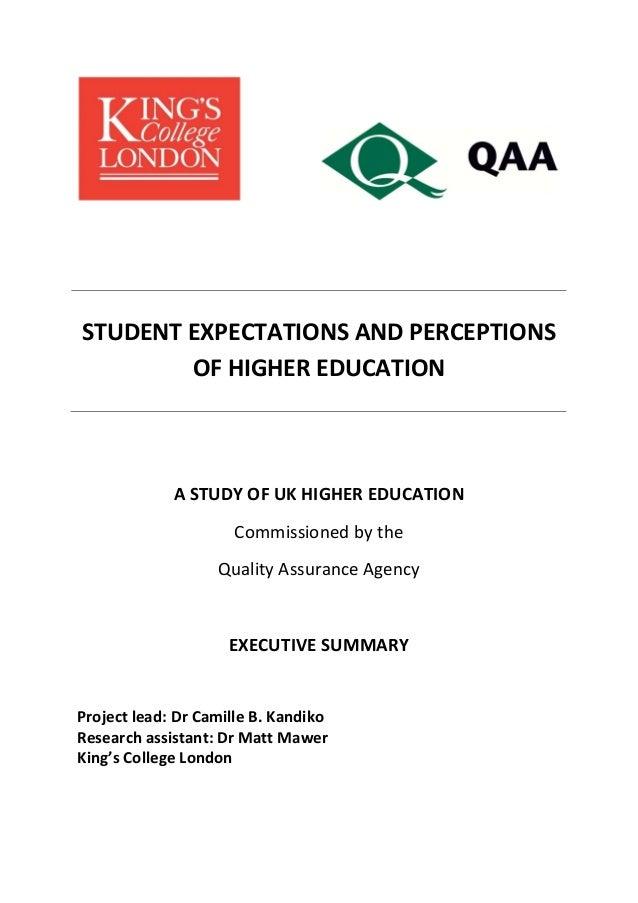 STUDENTEXPECTATIONSANDPERCEPTIONS OFHIGHEREDUCATION     ASTUDYOFUKHIGHEREDUCATION Commi...