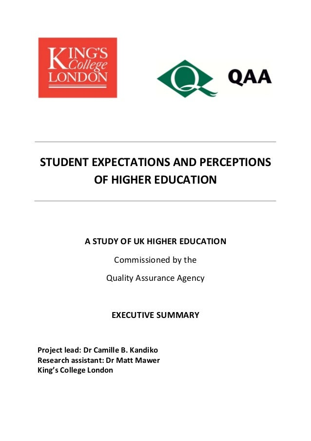 QAA & Kings Student Perceptions (summary)