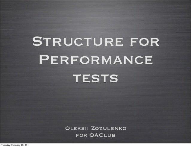 QAClubKiev Performance-Structure