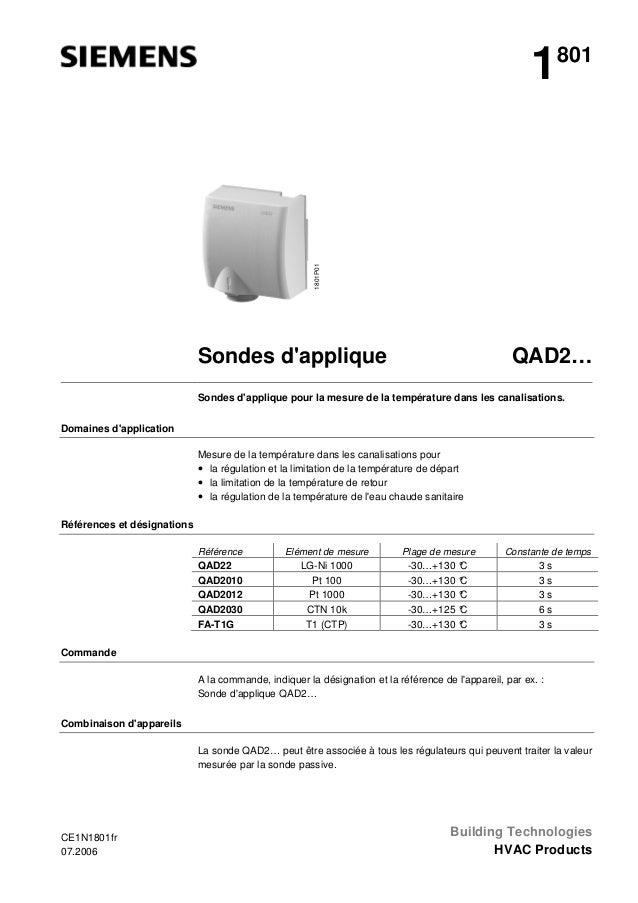 1801P01  1  801  QAD2…  Sondes d'applique  Sondes d'applique pour la mesure de la température dans les canalisations. Doma...
