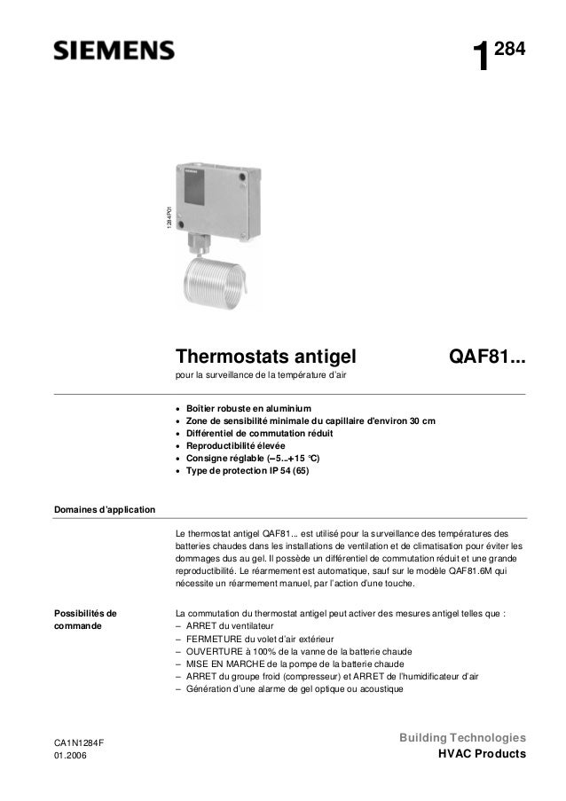 1284P01  1  284  QAF81...  Thermostats antigel pour la surveillance de la température d'air  • • • • • •  Boîtier robuste ...