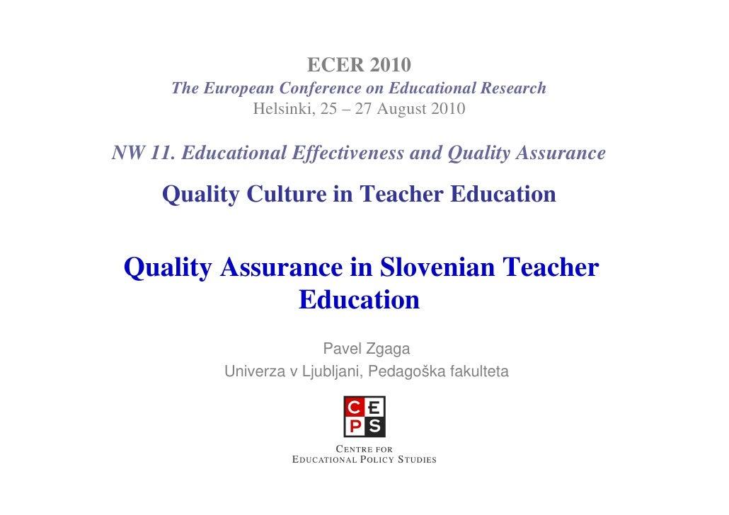 Quality Assurance in Teacher Education in Slovenia