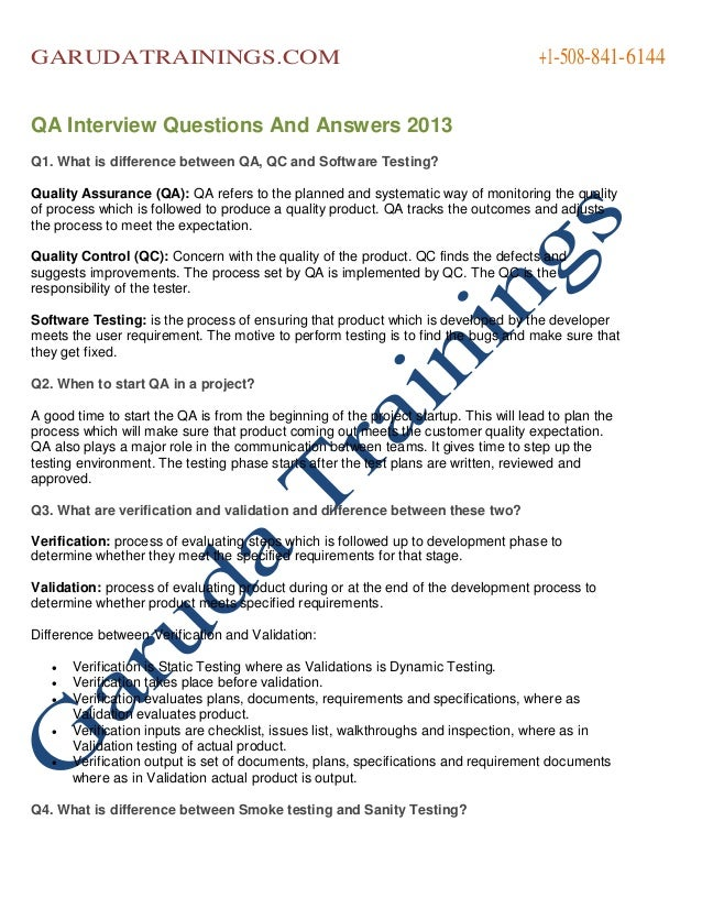 Qa interview questions and answers