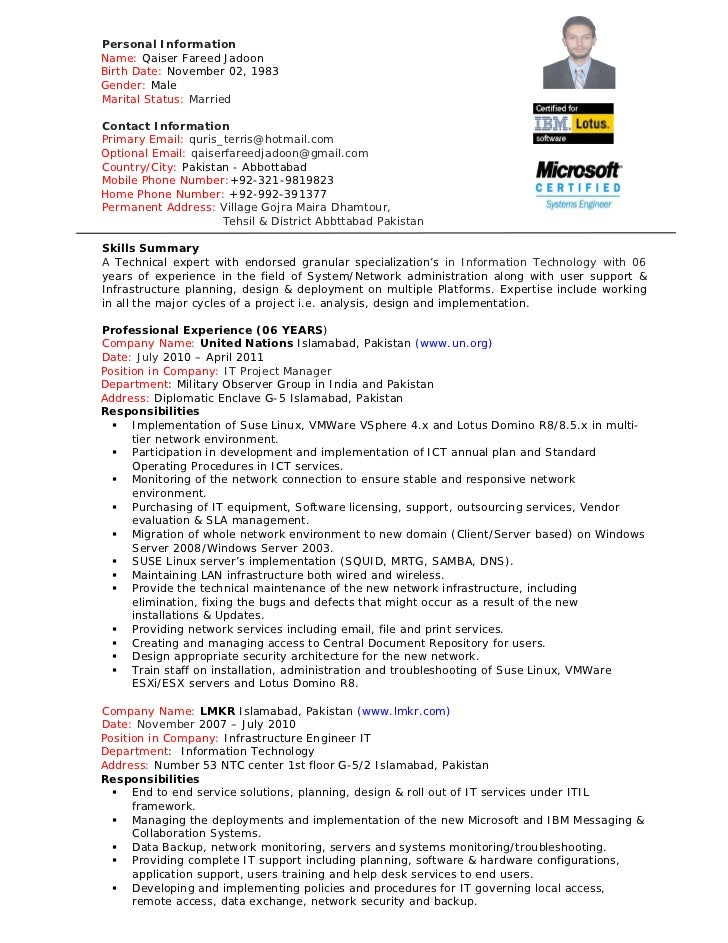 it infrastructure project manager resumes