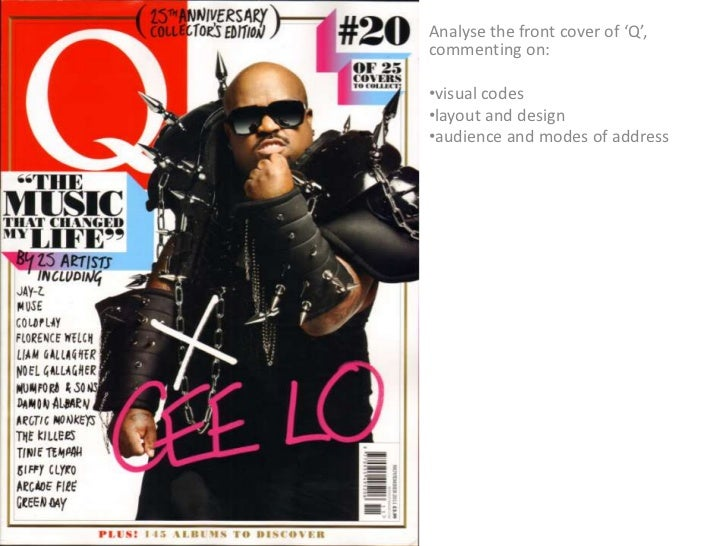 Analyse the front cover of 'Q',commenting on:•visual codes•layout and design•audience and modes of address