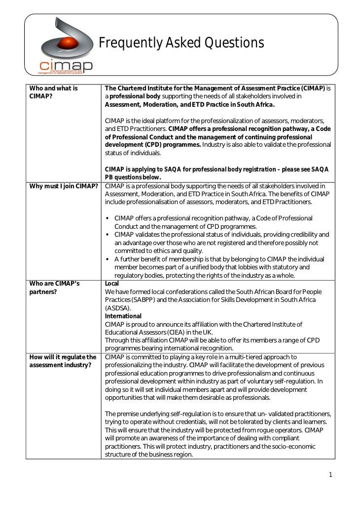 Frequently Asked QuestionsWho and what is            The Chartered Institute for the Management of Assessment Practice (CI...