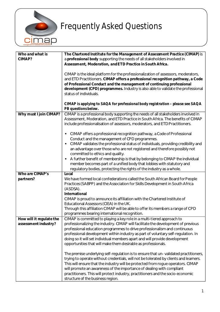 FAQ - CIMAP (incl SAQA FAQs on Professional bodies)