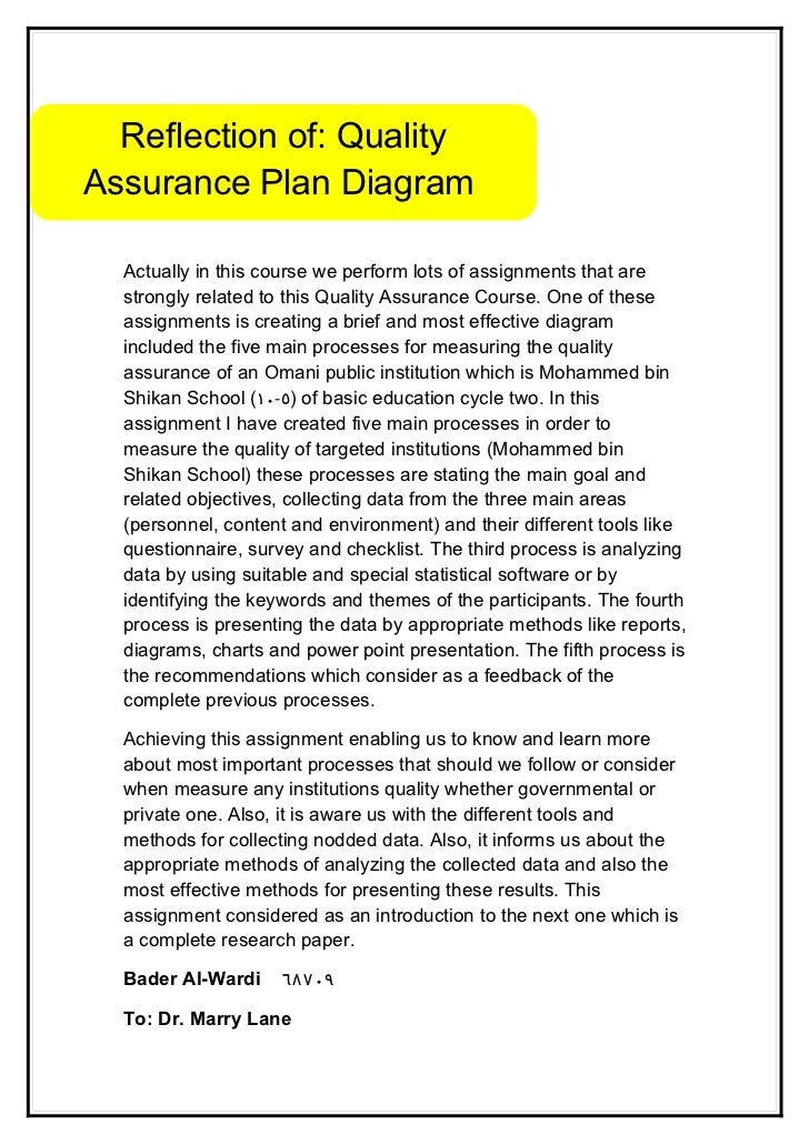 Reflection of: QualityAssurance Plan Diagram  Actually in this course we perform lots of assignments that are  strongly re...