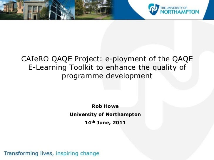 CAIeRO QAQE Project: e-ployment of the QAQE E-Learning Toolkit to enhance the quality of          programme development   ...