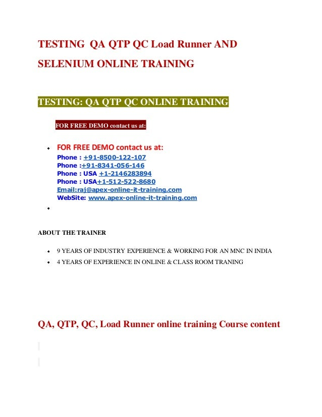 Qa QTP Selneium online training by real time experts