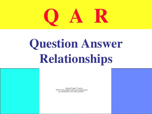 Q A R Question Answer Relationships QuickTime™ and a TIFF (Uncompressed) decompressor are needed to see this picture.