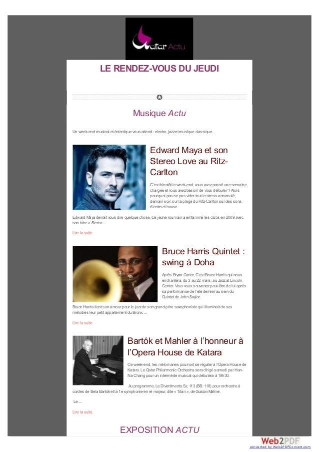 LE RENDEZ-VOUS DU JEUDI  Musique Actu Un week-end musical et éclectique vous attend : electro, jazz et musique classique. ...