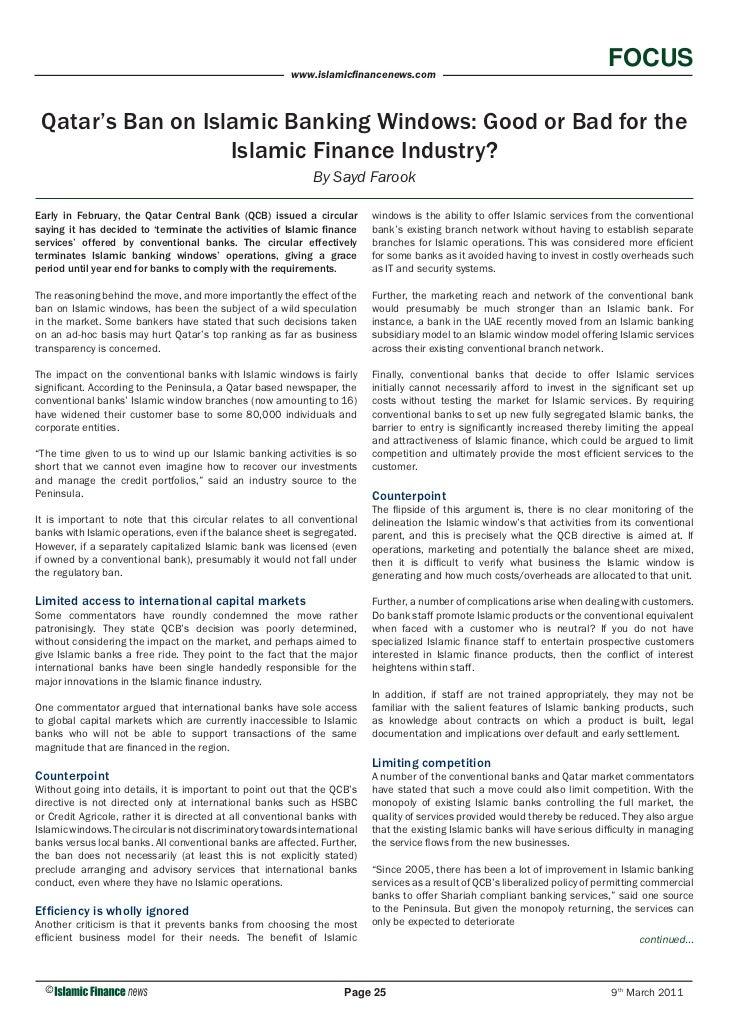 FOCUS                                                          www.islamicfinancenews.com Qatar's Ban on Islamic Banking Wi...