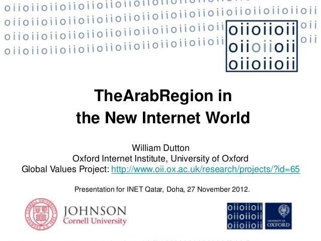 TheArabRegion in             the New Internet World                             William Dutton            Oxford Internet ...