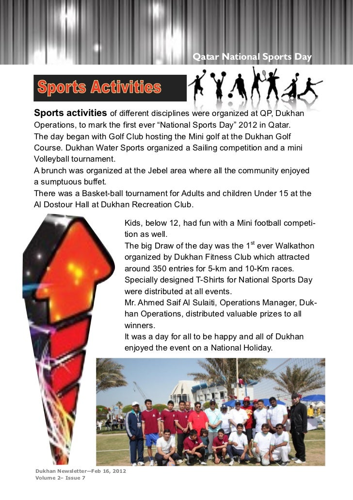 Qatar National Sports DaySports activities of different disciplines were organized at QP, DukhanOperations, to mark the fi...