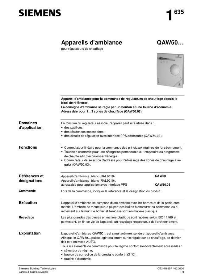 1 Appareils d'ambiance  635  QAW50…  pour régulateurs de chauffage  Appareil d'ambiance pour la commande de régulateurs de...