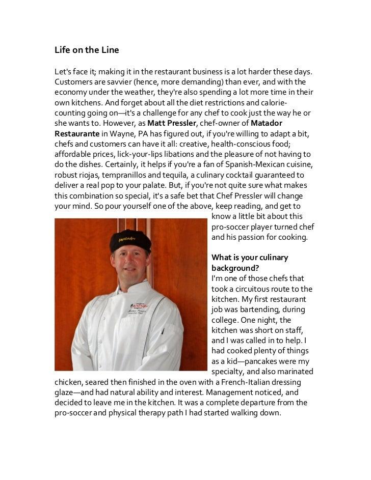 Chef Q+A: Matt Pressler, Matador Restaurante