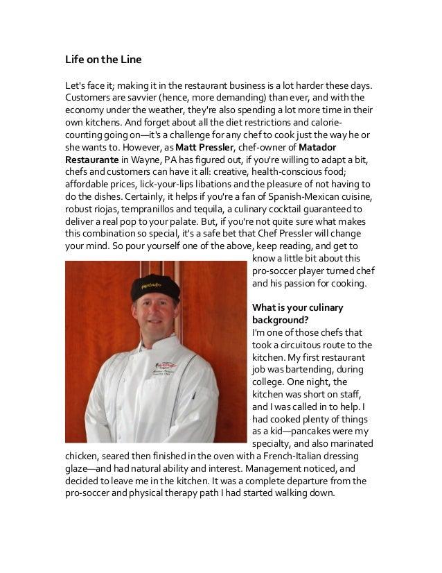Q+A with Chef Pressler of Matador Restaurante