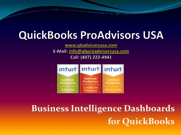 Business Intelligence Dashboards                   for QuickBooks