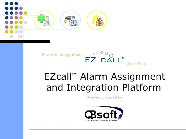 ..Made Easy EZcall ™  Alarm Assignment and Integration Platform   Overview prepared by: Powerful Integration.. TM