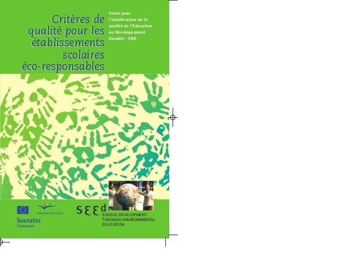 Guide pour      Critères de    l'amélioration de la                     qualité de l'Education qualité pour les    au Déve...