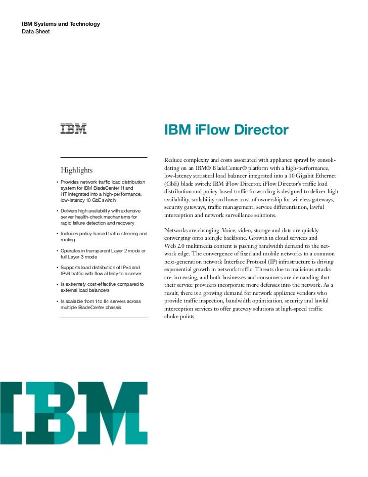IBM Systems and TechnologyData Sheet                                                            IBM iFlow Director        ...