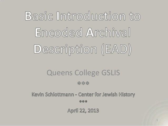 EAD Workshop, Queens College, 4-22-2013