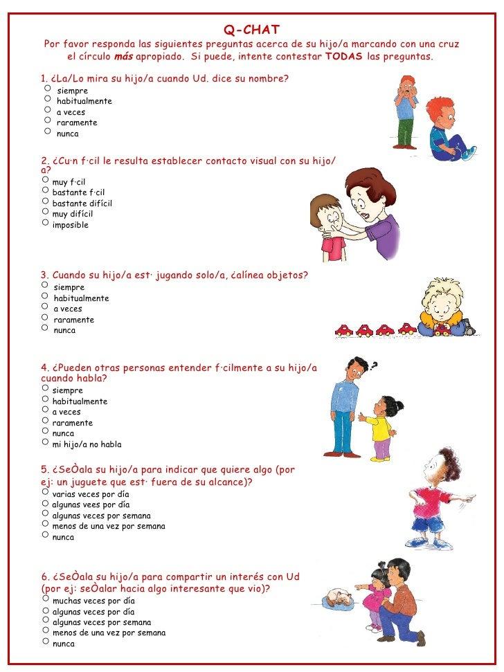 Q-CHATPor favor responda las siguientes preguntas acerca de su hijo/a marcando con una cruz     el círculo más apropiado. ...