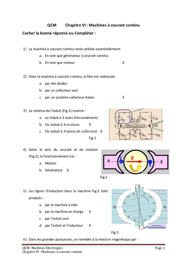 QCM        Chapitre VI : Machines à courant continuCocher la bonne réponse ou Compléter :1) La machine à courant continu r...