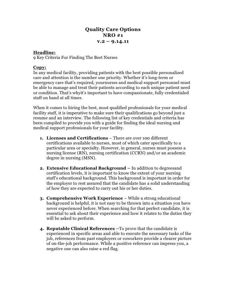 Quality Care Options <br />NRO #1<br />v.2 – 9.14.11<br />Headline:<br />9 Key Criteria For Finding The Best Nurses <br />...