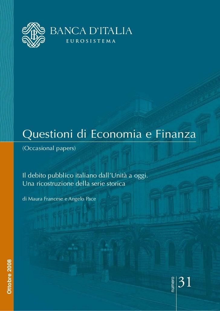 Qef 31.debito pubblico italiano dall'unità ad oggi  banca italia