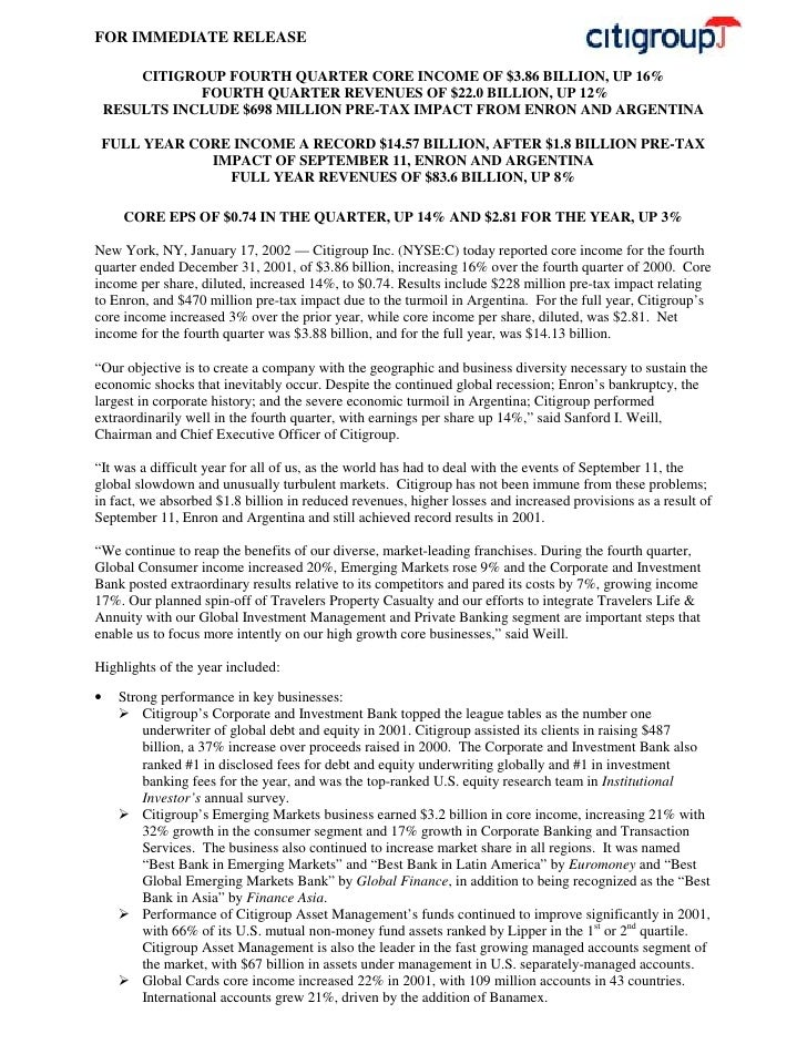 citigroup January 17, 2002 - Fourth Quarter Press Release