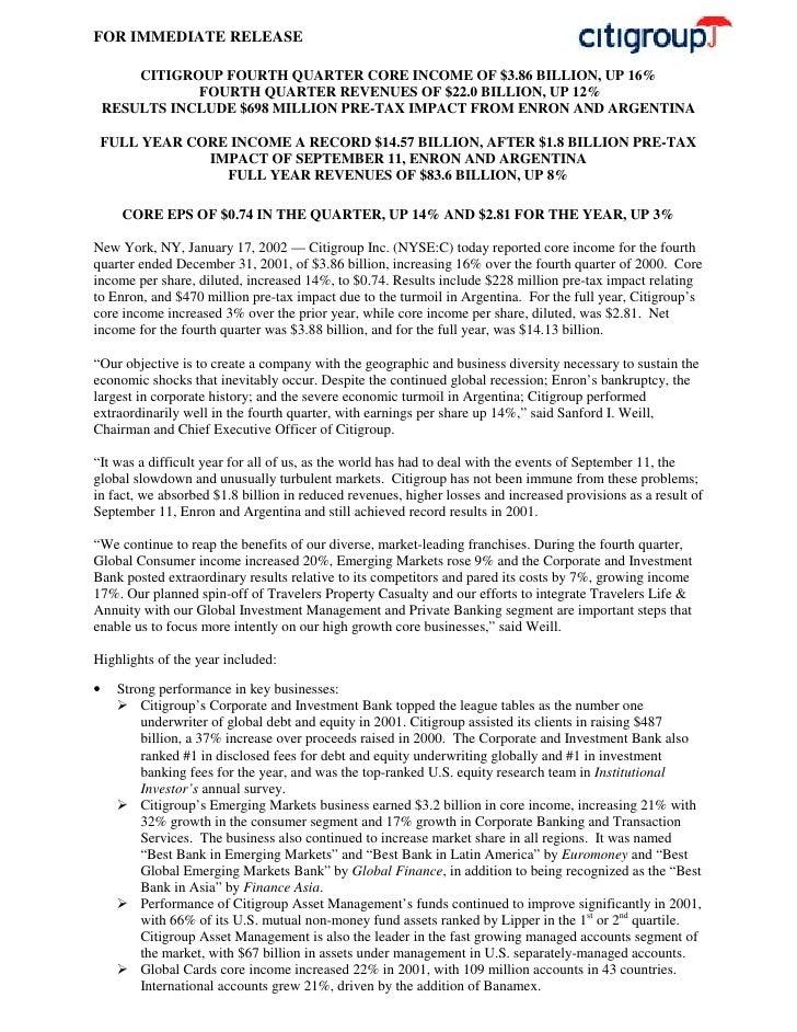 citigroup January 17, 2002 - Fourth Quarter Press Release