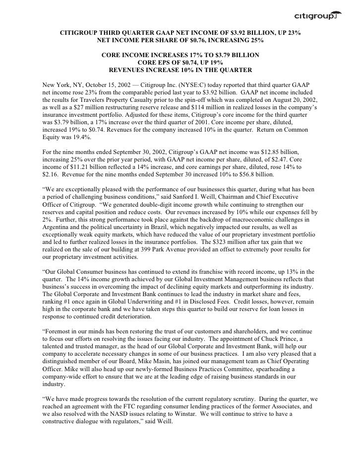 citigroup October 15, 2002 - Third Quarter Press Release