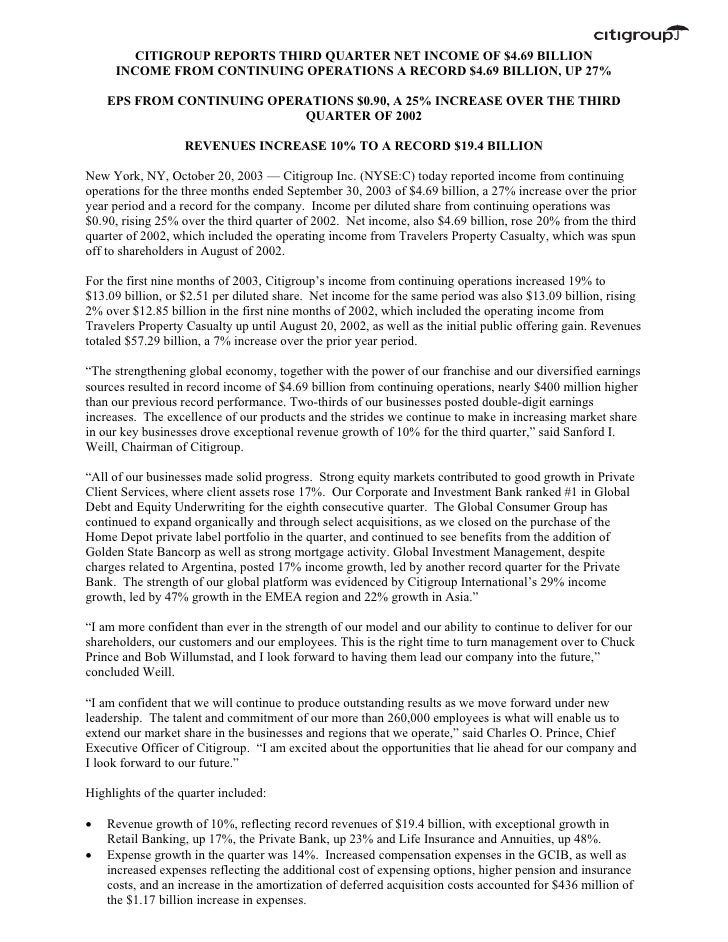 citigroup October 20, 2003 - Third Quarter Press Release