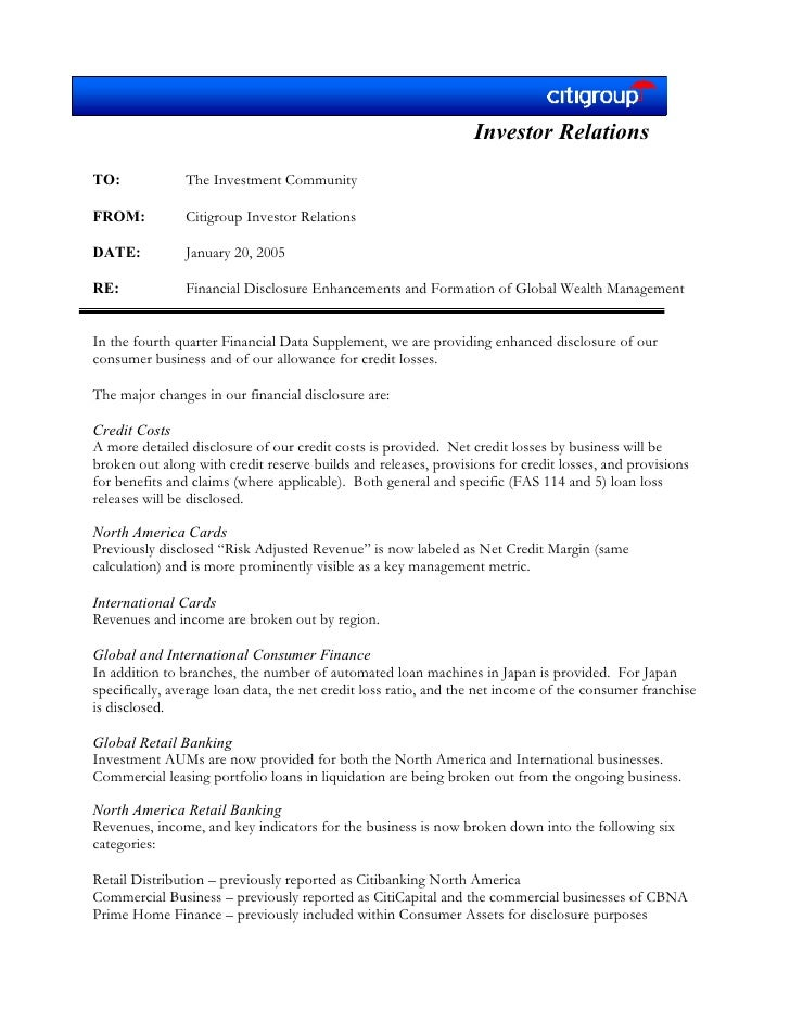 citigroup January 20, 2005 - Fourth Quarter  Financial Supplement