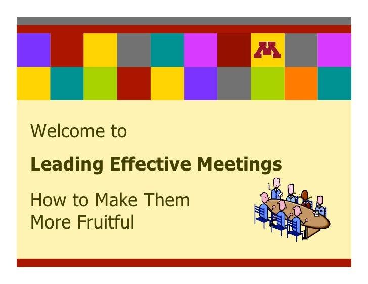 Leading Effective Meetings