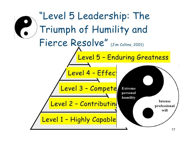 level 5 leadership the triumph of humility and fierce resloved Level 5 leadership: the triumph of humility and fierce resolve -harvard business review level 5 leadership: the triumph of humility and fierce resolve.