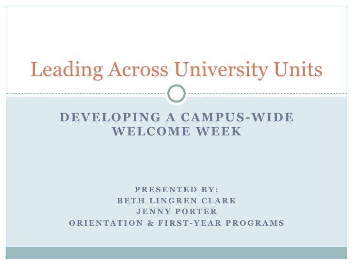 Leading Across University Units     DEVELOP ING A CAMPUS-WIDE         WE L COME WEEK                  PRESENTED BY:       ...