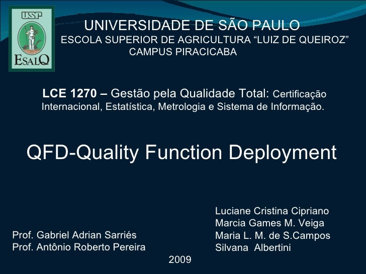 QFD - Quality Function Deployment