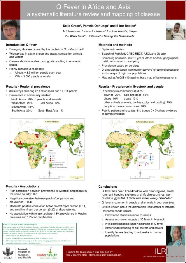 Q fever in Africa and Asia: A systematic literature review and mapping of disease